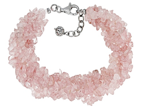Photo of Mixed Free-form Rose Quartz Rhodium Over Sterling Silver 5-Strand Torsade Bracelet - Size 7.25