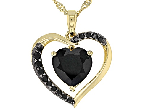 3.69ctw heart shape and round black spinel 18k gold over silver heart pendant with chain