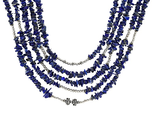 Photo of LAPIS LAZULI CHIP RHODIUM OVER STERLING SILVER MULTI-ROW WOVEN NECKLACE - Size 18