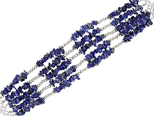 Photo of LAPIS LAZULI CHIP RHODIUM OVER STERLING SILVER MULTI-ROW WOVEN BRACELET - Size 7.25