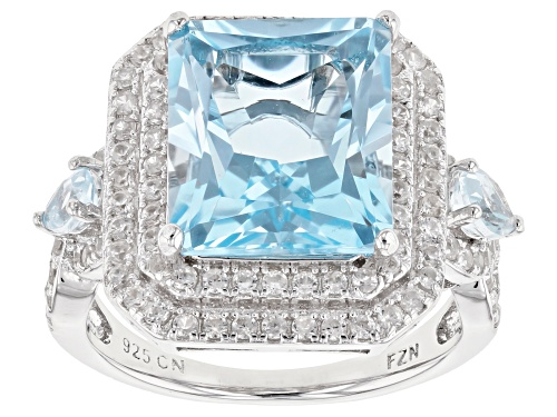 Photo of 6.75ctw Rectangular & Pear Shape Glacier Topaz(TM), 1.30ctw White Zircon Rhodium Over Silver Ring - Size 9