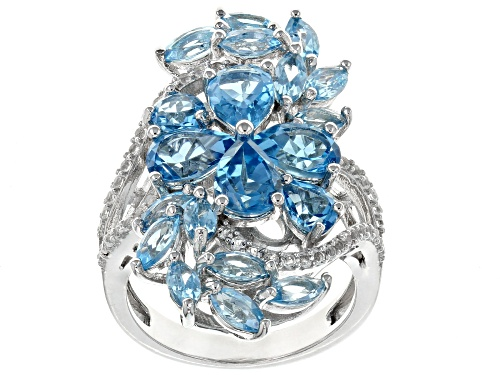 5.73ctw Mixed Shape Swiss Blue Topaz With .39ctw Round White Topaz Rhodium Over Silver Ring - Size 8