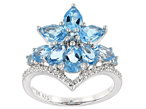 Photo of 2.79ctw Pear Shape & Round Swiss Blue Topaz, .20ctw White Topaz Rhodium Over Silver Ring - Size 8