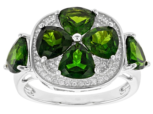Photo of 4.62ctw Trillion Chrome Diopside & .46ctw White Zircon Rhodium Over Silver 4-Leaf Clover Ring - Size 9