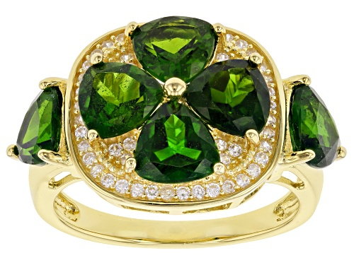 Photo of 4.62ctw Trillion Chrome Diopside & .46ctw White Zircon Rhodium Over Silver 4-Leaf Clover Ring - Size 7