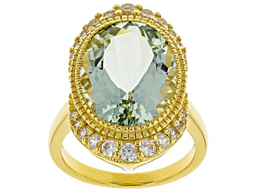 Photo of 6.80ct Oval Prasiolite with .84ctw Round White Zircon 18k Gold Over Sterling Silver Ring - Size 9
