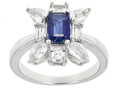 Photo of .85CT EMERALD CUT NEPALESE KYANITE WITH 1.60CTW WHITE TOPAZ RHODIUM OVER STERLING SILVER RING - Size 7