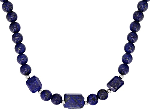 Photo of MIXED SHAPES LAPIS LAZULI RHODIUM OVER STERLING SILVER NECKLACE - Size 20