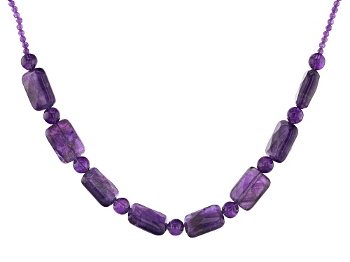 Photo of 67.15CTW AFRICAN AMETHYST RHODIUM OVER STERLING SILVER NECKLACE - Size 18
