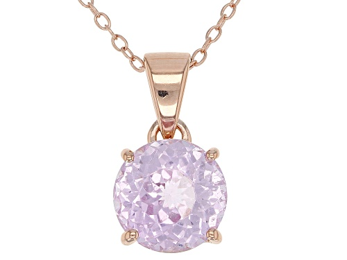 Photo of 3.02CT ROUND KUNZITE 18K ROSE GOLD OVER STERLING SILVER SOLITAIRE PENDANT WITH CHAIN