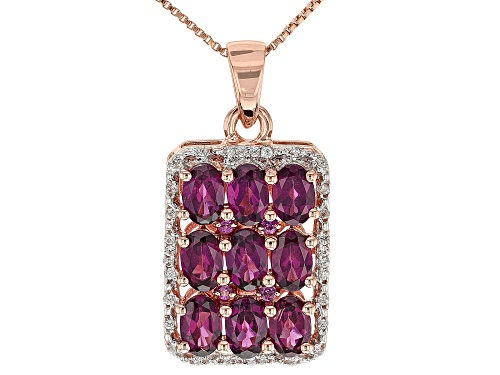 Photo of 4.57ctw Raspberry Color Rhodolite w/.14ctw Zircon 18k Rose Gold Over Sterling Silver Pendant w/Chain