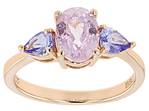 Photo of 1.48CT OVAL KUNZITE WITH .52CTW PEAR SHAPE TANZANITE 18K ROSE GOLD OVER STERLING SILVER RING - Size 10