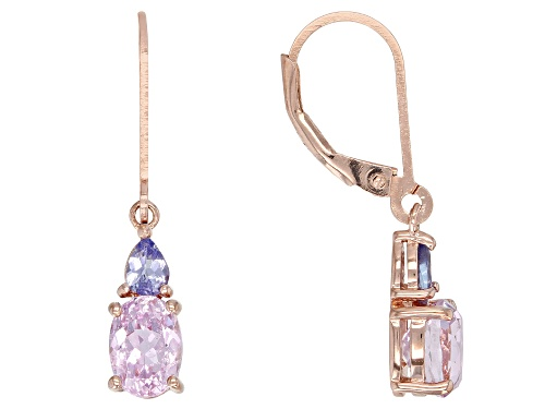 Photo of 1.87CTW OVAL KUNZITE WITH .28CTW PEAR SHAPE TANZANITE 18K ROSE GOLD OVER  SILVER DANGLE EARRINGS