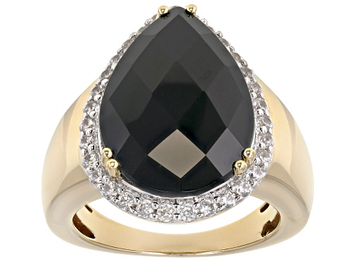 Photo of 10.20ct Pear Shape Black Spinel with .56ctw Round White Zircon 18k Yellow Gold Over Silver Ring - Size 9