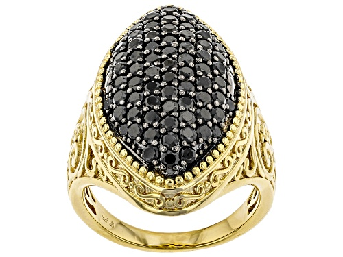 Photo of 1.56ctw Round Black Spinel 18k Yellow Gold Over Sterling Silver Ring - Size 8