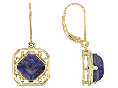 8X8mm square octagonal cabochon sodalite solitaire 18k yellow gold over silver dangle earrings