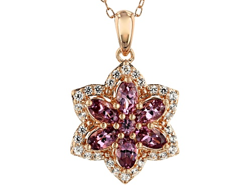 Photo of 1.59ctw Blush Color Garnet with .36ctw Zircon 18k Rose Gold Over Silver Flower Pendant with Chain