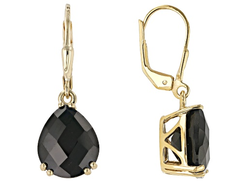 Photo of 10.20ctw Pear Shape Black Spinel Solitaire 18k Yellow Gold Over Sterling Silver Dangle Earrings