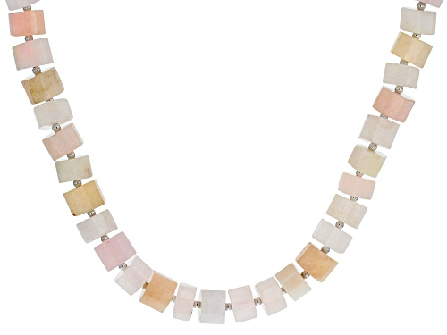 Photo of Carved Barrel Pink Morganite Sterling Silver Necklace - Size 20