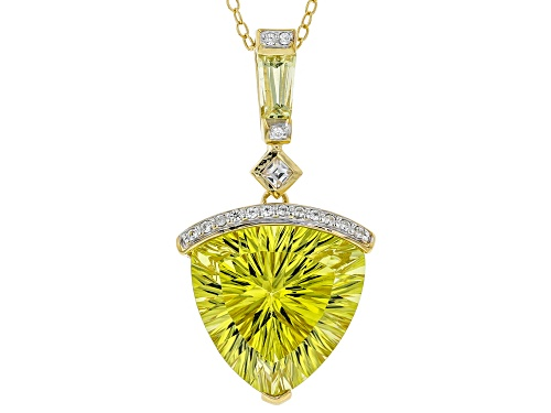 Photo of 9.72CTW CANARY YELLOW QUARTZ WITH .14CTW WHITE ZIRCON 18K GOLD OVER SILVER PENDANT WITH CHAIN
