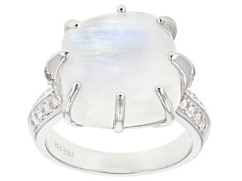 Photo of 14mm rainbow moonstone with .42ctw round white topaz rhodium over sterling silver ring - Size 7