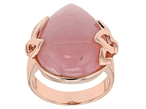 Photo of 20X16MM PEAR SHAPE CABOCHON PERUVIAN PINK OPAL 18K ROSE GOLD OVER STERLING SILVER RING - Size 7