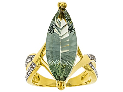 Photo of 7.20CT MARQUISE PRASIOLITE WITH .08CTW WHITE TOPAZ 18K YELLOW GOLD OVER SILVER RING - Size 7