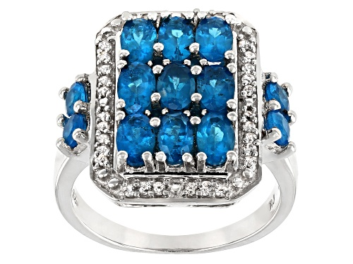 Photo of 2.44ctw Oval & Round Neon Apatite with .25ctw Round White Zircon Rhodium Over Silver Ring - Size 8