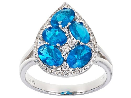 Photo of 2.40ctw Oval Neon Apatite and .42ctw Round White Zircon Sterling Silver Pear Shape Cluster Ring - Size 8