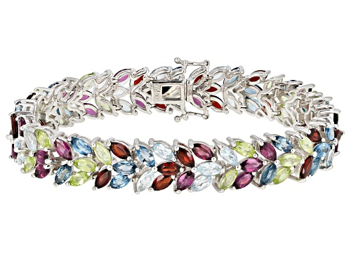 Photo of 28.09ctw Marquise Multi-Color Gemstone Rhodium Over Sterling Silver Floral Bracelet - Size 8