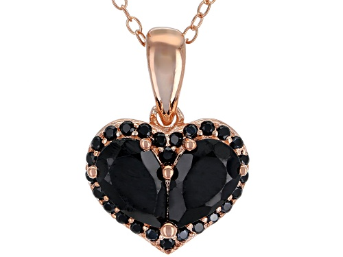 Photo of 2.06ctw Pear Shape and Round Black Spinel 18k Rose Gold Over Silver Heart Pendant with Chain