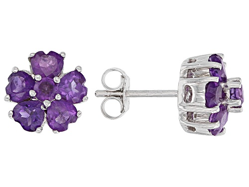 Photo of 1.87CTW ROUND AND HEART SHAPE AFRICAN AMETHYST RHODIUM OVER STERLING SILVER CLUSTER EARRINGS