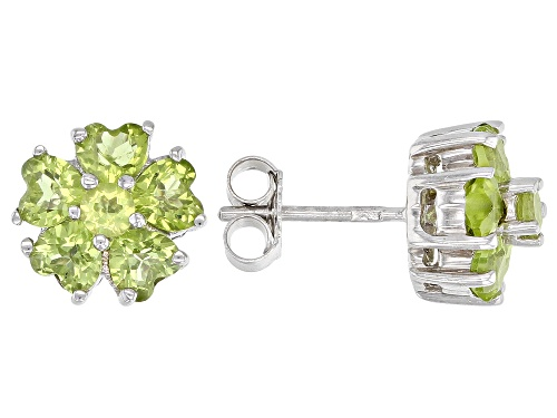 Photo of 2.35CTW ROUND AND HEART SHAPE MANCHURIAN PERIDOT(TM) RHODIUM OVER STERLING SILVER CLUSTER EARRINGS