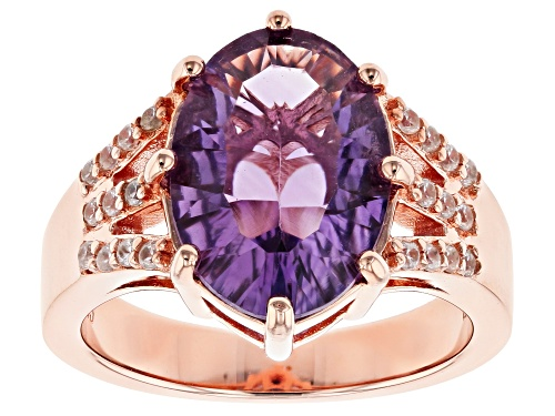 Photo of 4.22ct Oval Quantum Cut(R) Brazilian Amethyst, .25ctw White Zircon 18k Rose Gold Over Silver Ring - Size 8
