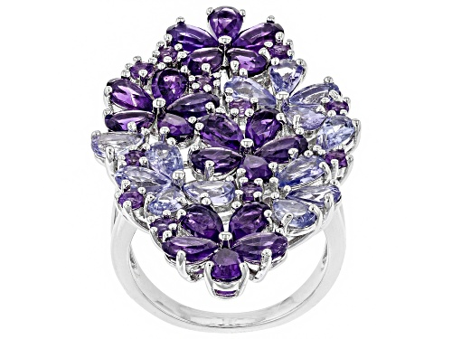 Photo of 3.43ctw Pear Shape & Round Amethyst, 2.54ctw Pear Shape Tanzanite Rhodium Over Silver Flower Ring - Size 7