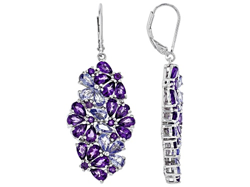 Photo of 6.28ctw Pear Shape & Round Amethyst With 2.22ctw Tanzanite Rhodium Over Silver Dangle Earrings