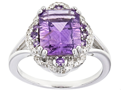 Photo of 2.86ctw Emerald Cut and Round Brazilian Amethyst, .20ctw Zircon Rhodium Over Silver Ring - Size 7