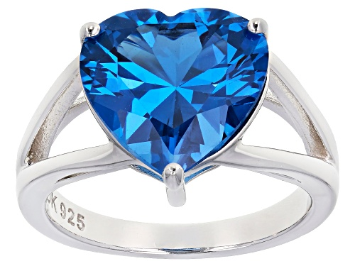 Photo of 5.14ct Heart Shape Lab Created Blue Spinel Rhodium Over Sterling Silver Solitaire Ring - Size 8