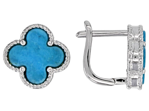 Photo of 8mm Turquoise Rhodium Over Sterling Silver Four-Leaf Clover Stud Earrings