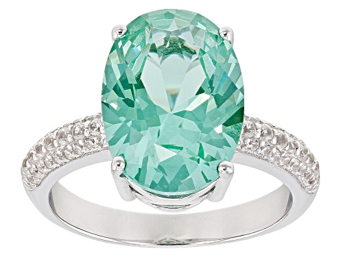 Photo of 5.48CT OVAL LAB CREATED GREEN SPINEL WITH .37CTW WHITE ZIRCON RHODIUM OVER SILVER RING - Size 7