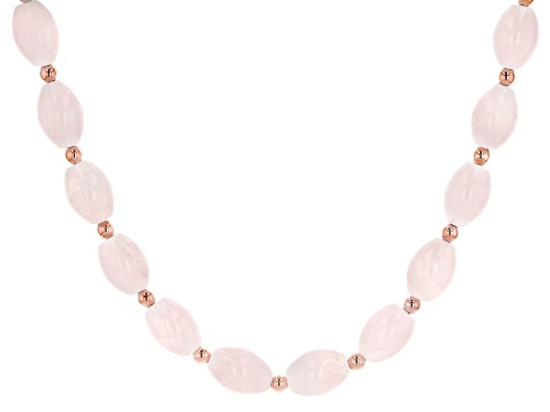 Photo of 14X10MM OVAL ROSE QUARTZ, 18K ROSE GOLD OVER STERLING SILVER BEAD NECKLACE - Size 18