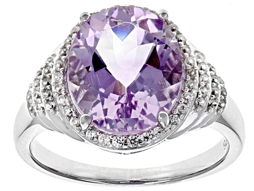Photo of 3.51ct Oval Lavender Amethyst With .25ctw Zircon Rhodium Over Silver Ring - Size 7