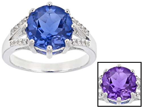 Photo of 4.25ct Round Color Change Blue Fluorite & .18ctw White Zircon Rhodium Over Sterling Silver Ring - Size 8