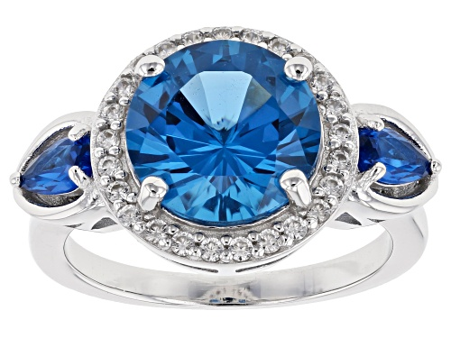 Photo of 3.61ctw Round & Pear Shape Lab Created Blue Spinel With .28ctw White Zircon Rhodium Over Silver Ring - Size 9