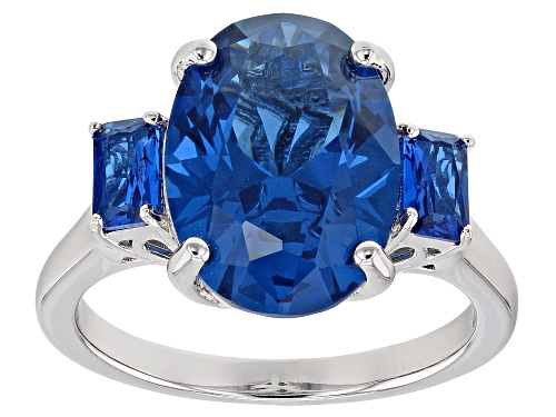 Photo of 6.08ctw Oval and Emerald Cut Lab Created Blue Spinel Rhodium Over Sterling Silver 3-Stone Ring - Size 7