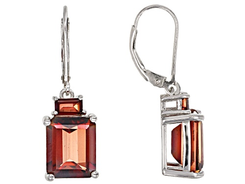 Photo of 7.72ctw Emerald Cut Red Labradorite Rhodium Over Silver 2-Stone Dangle Earrings