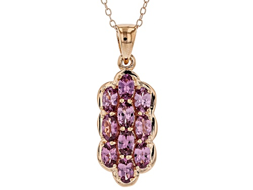 Photo of 2.47ctw Oval Blush Color Garnet 18k Rose Gold Over Sterling Silver Pendant with Chain