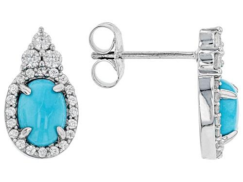 Photo of Sleeping Beauty Turquoise & Zircon Sterling Silver Earrings