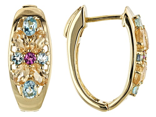 Photo of 3.73ctw Oval & Round Multi-Gemstone 18k Gold Over Silver Hoop Earrings