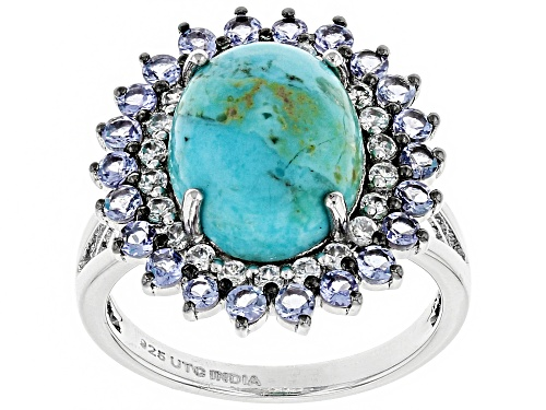 12x10mm Oval Kingman Turquoise With .90ctw Tanzanite & .40ctw White Zircon Silver Halo Ring - Size 6